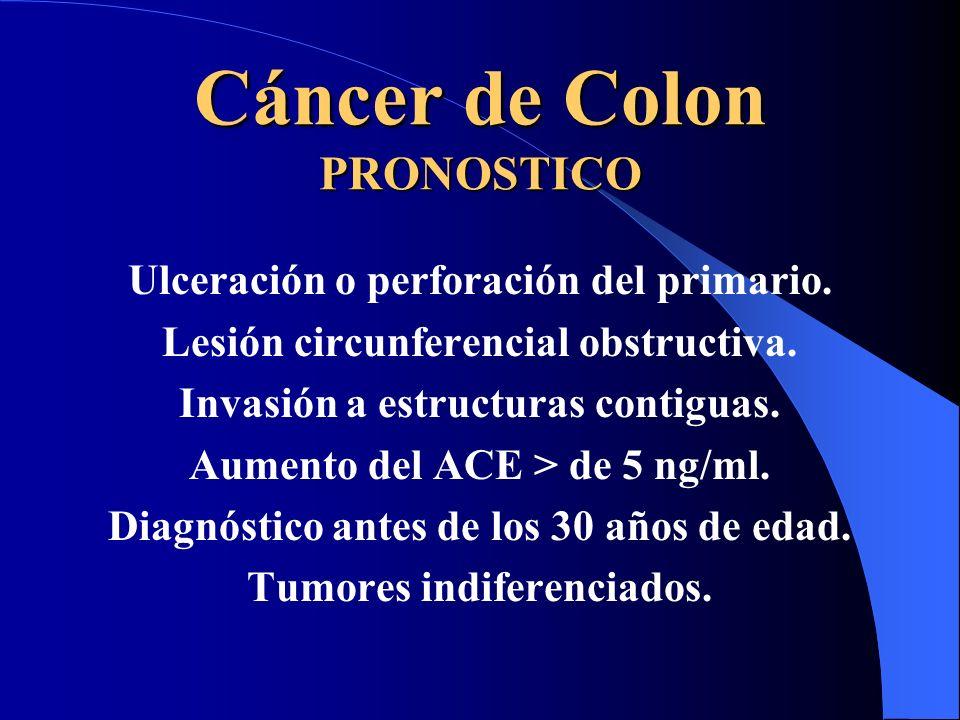 Cáncer de Colon PRONOSTICO Ulceración o perforación del primario. Lesión circunferencial obstructiva. Invasión a estructuras contiguas. Aumento del AC