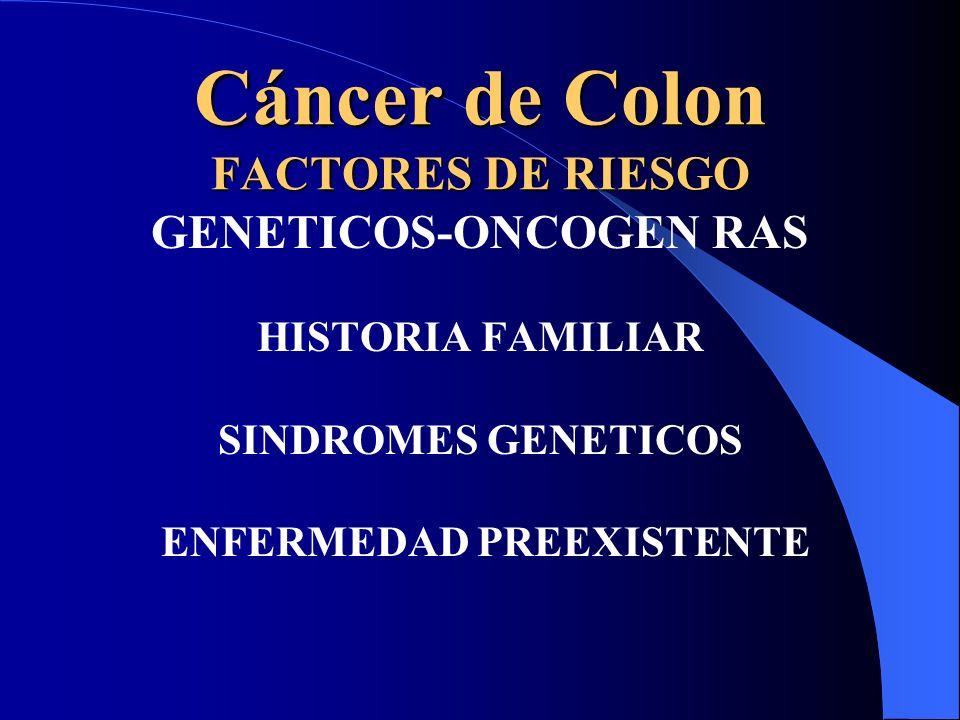 Cáncer de Colon FACTORES DE RIESGO GENETICOS-ONCOGEN RAS HISTORIA FAMILIAR SINDROMES GENETICOS ENFERMEDAD PREEXISTENTE
