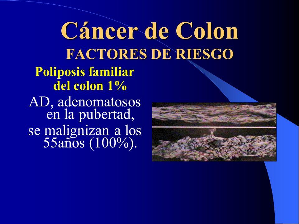 Cáncer de Colon FACTORES DE RIESGO Poliposis familiar del colon 1% AD, adenomatosos en la pubertad, se malignizan a los 55años (100%).