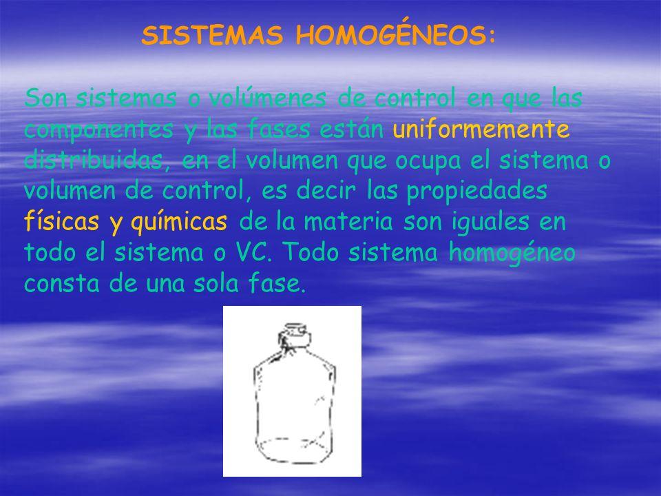 SISTEMAS HOMOGÉNEOS: Son sistemas o volúmenes de control en que las componentes y las fases están uniformemente distribuidas, en el volumen que ocupa