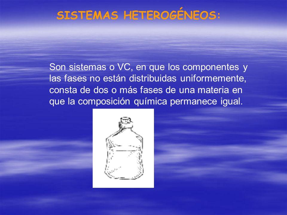 SISTEMAS HETEROGÉNEOS: Son sistemas o VC, en que los componentes y las fases no están distribuidas uniformemente, consta de dos o más fases de una mat