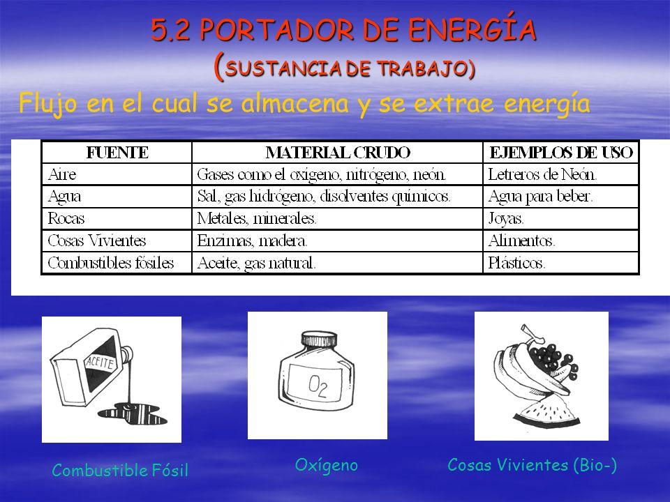 5.2 PORTADOR DE ENERGÍA ( SUSTANCIA DE TRABAJO) Flujo en el cual se almacena y se extrae energía Combustible Fósil OxígenoCosas Vivientes (Bio-)