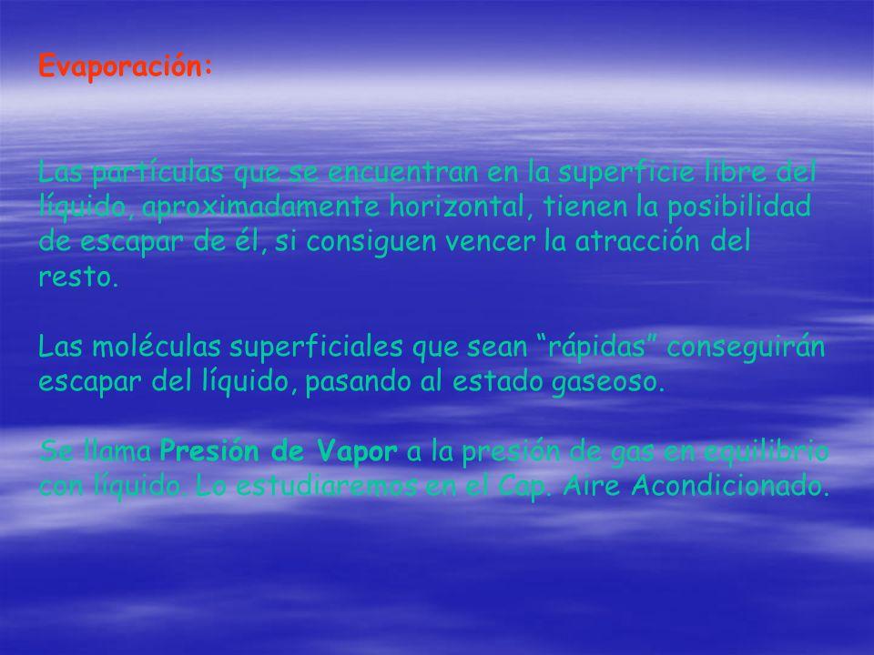 Evaporación: Las partículas que se encuentran en la superficie libre del líquido, aproximadamente horizontal, tienen la posibilidad de escapar de él,