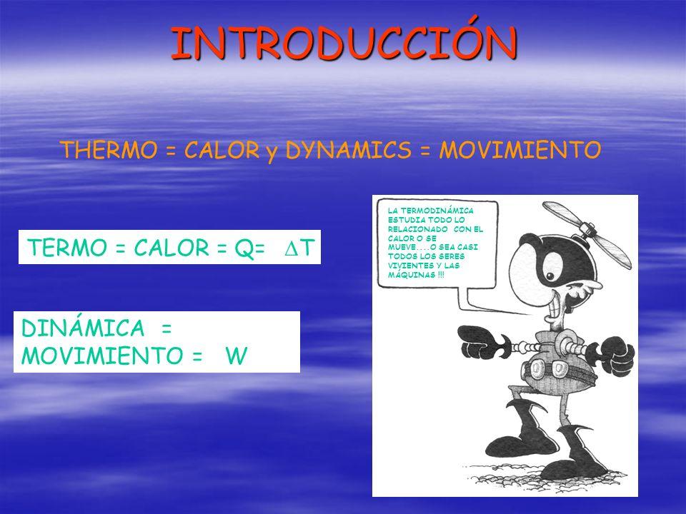 INTRODUCCIÓN THERMO = CALOR y DYNAMICS = MOVIMIENTO TERMO = CALOR = Q= T DINÁMICA = MOVIMIENTO = W LA TERMODINÁMICA ESTUDIA TODO LO RELACIONADO CON EL