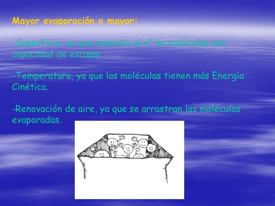 Mayor evaporación a mayor: -Superficie, ya que aumenta el n° de moléculas con capacidad de escapar. -Temperatura, ya que las moléculas tienen más Ener