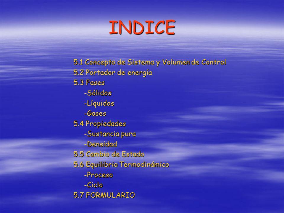 INDICE 5.1 Concepto de Sistema y Volumen de Control 5.2 Portador de energía 5.3 Fases -Sólidos-Líquidos-Gases 5.4 Propiedades -Sustancia pura -Densida