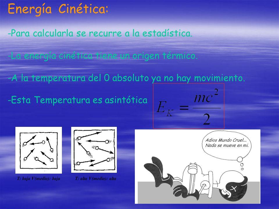 Energía Cinética: -Para calcularla se recurre a la estadística. -La energía cinética tiene un origen térmico. -A la temperatura del 0 absoluto ya no h