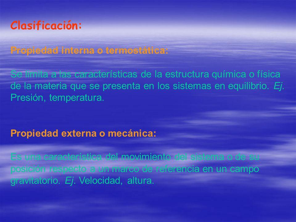 Clasificación: Propiedad interna o termostática: Se limita a las características de la estructura química o física de la materia que se presenta en lo
