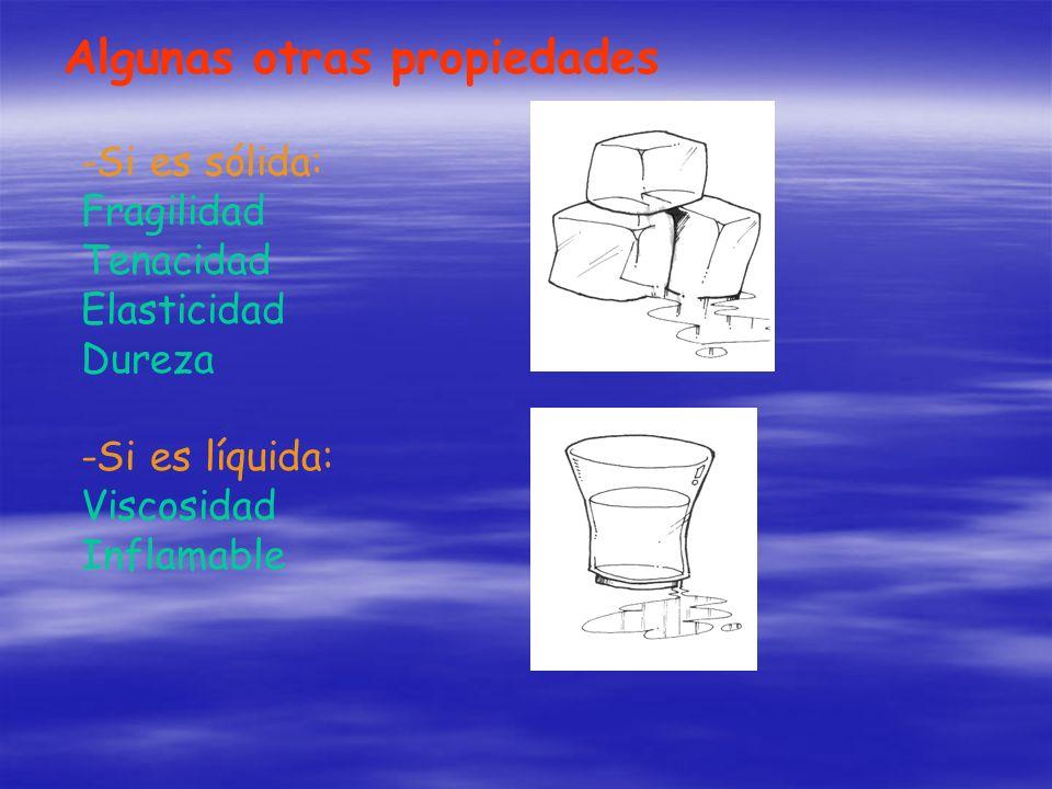 Algunas otras propiedades -Si es sólida: Fragilidad Tenacidad Elasticidad Dureza -Si es líquida: Viscosidad Inflamable