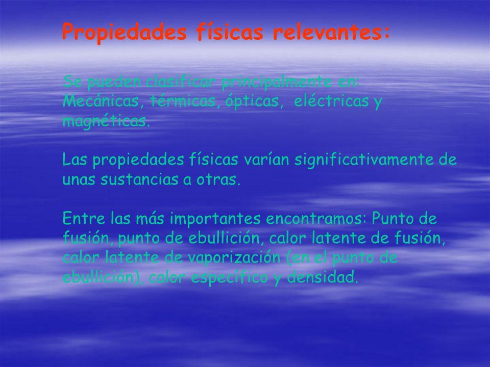 Propiedades físicas relevantes: Se pueden clasificar principalmente en: Mecánicas, térmicas, ópticas, eléctricas y magnéticas. Las propiedades físicas
