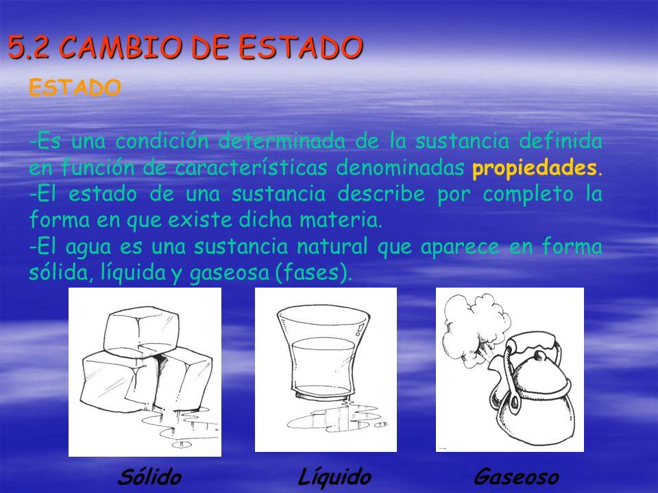 5.2 CAMBIO DE ESTADO ESTADO -Es una condición determinada de la sustancia definida en función de características denominadas propiedades. -El estado d