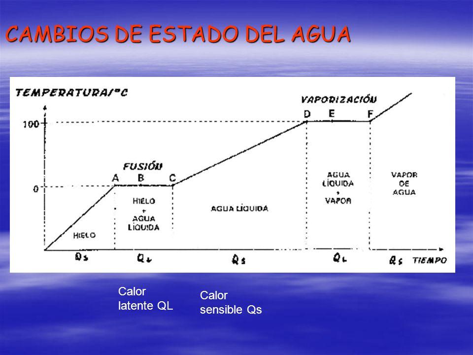 CAMBIOS DE ESTADO DEL AGUA Calor latente QL Calor sensible Qs