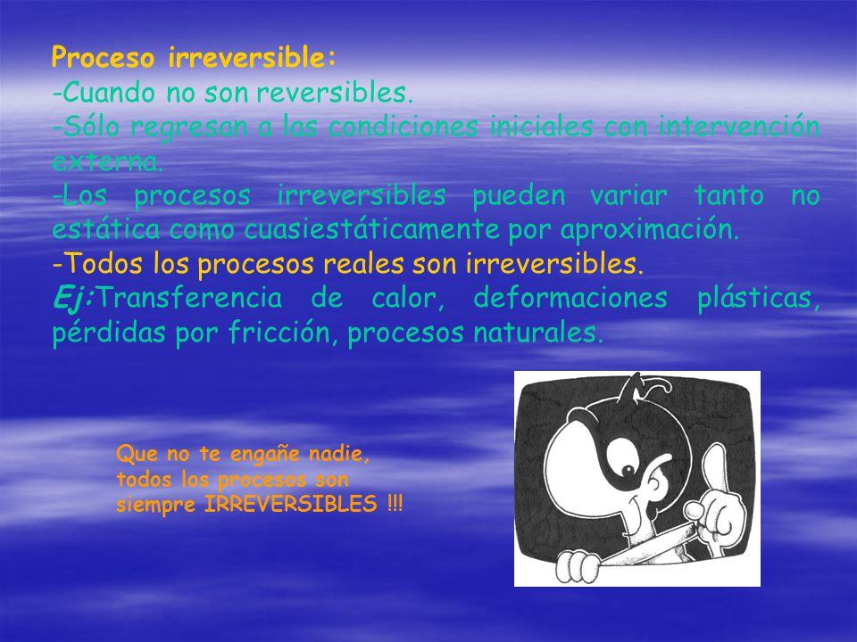 Proceso irreversible: -Cuando no son reversibles. -Sólo regresan a las condiciones iniciales con intervención externa. -Los procesos irreversibles pue