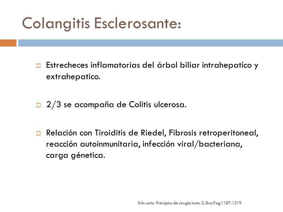 Colangitis Causas: Cálculos biliares Estrecheces (Benignas/Malignas) Parásitos Instrumentación de los conductos.