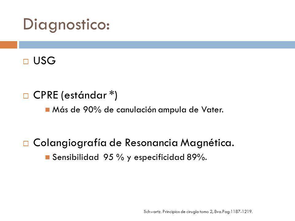 Diagnostico: USG CPRE (estándar *) Más de 90% de canulación ampula de Vater. Colangiografía de Resonancia Magnética. Sensibilidad 95 % y especificidad
