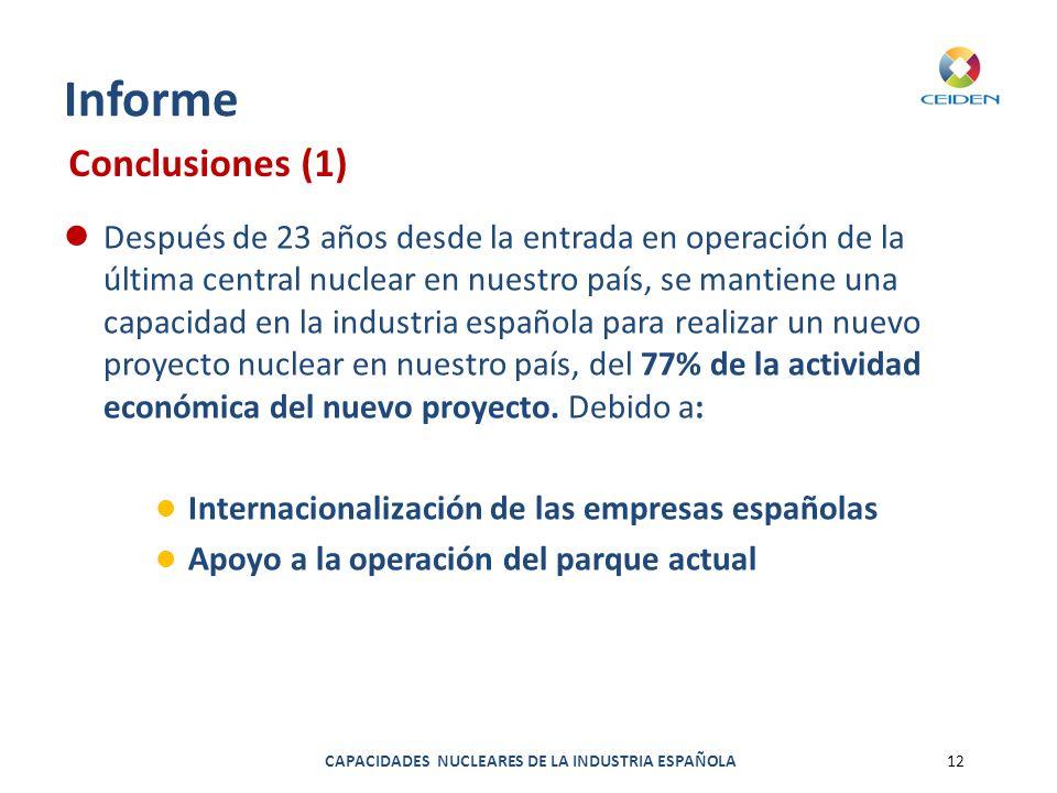 CAPACIDADES NUCLEARES DE LA INDUSTRIA ESPAÑOLA12 Informe Después de 23 años desde la entrada en operación de la última central nuclear en nuestro país