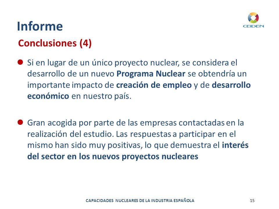 CAPACIDADES NUCLEARES DE LA INDUSTRIA ESPAÑOLA15 Informe Si en lugar de un único proyecto nuclear, se considera el desarrollo de un nuevo Programa Nuc