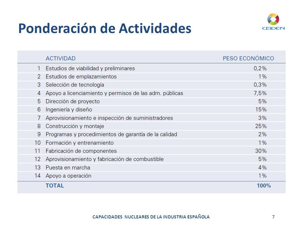 CAPACIDADES NUCLEARES DE LA INDUSTRIA ESPAÑOLA7 Ponderación de Actividades
