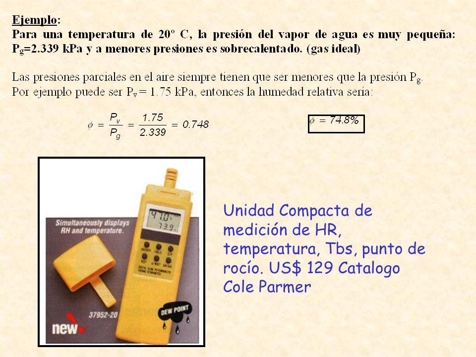 Unidad Compacta de medición de HR, temperatura, Tbs, punto de rocío. US$ 129 Catalogo Cole Parmer
