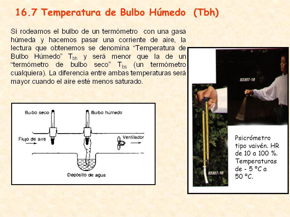 16.7 Temperatura de Bulbo Húmedo (Tbh) Psicrómetro tipo vaivén. HR de 10 a 100 %. Temperaturas de - 5 ºC a 50 ºC.