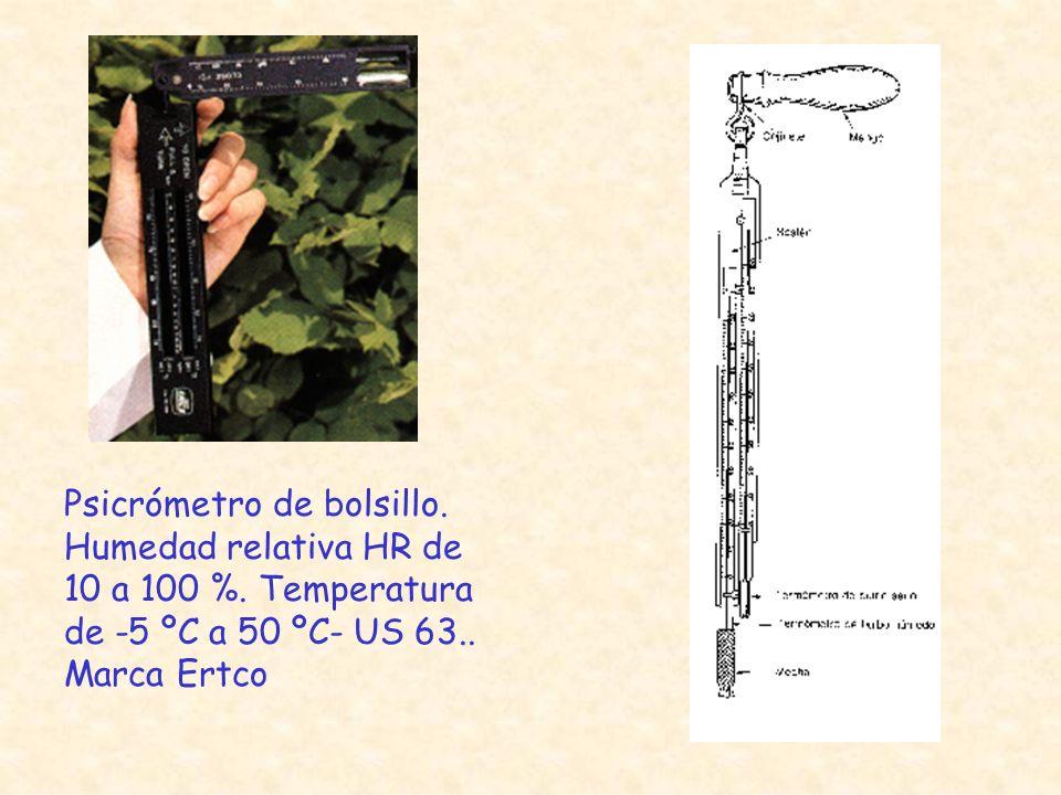 Psicrómetro de bolsillo. Humedad relativa HR de 10 a 100 %. Temperatura de -5 ºC a 50 ºC- US 63.. Marca Ertco
