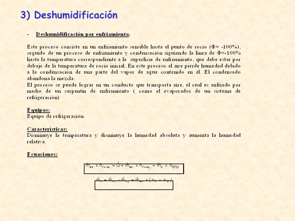 3) Deshumidificación