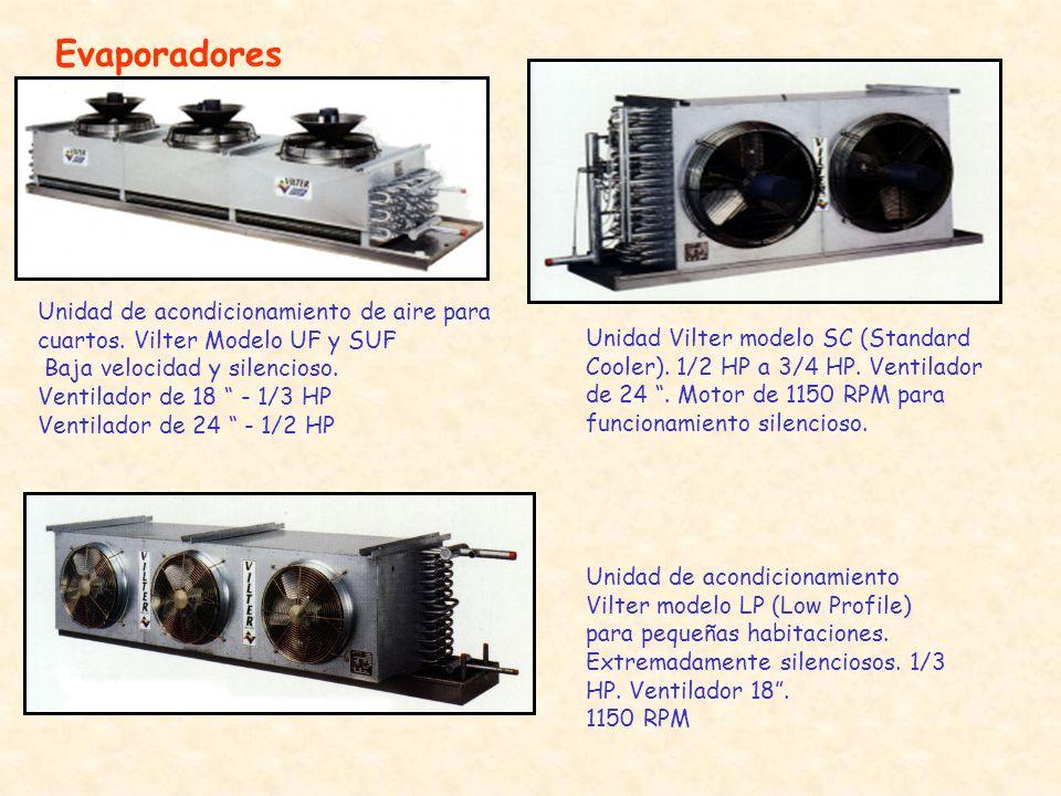 Evaporadores Unidad de acondicionamiento de aire para cuartos. Vilter Modelo UF y SUF Baja velocidad y silencioso. Ventilador de 18 - 1/3 HP Ventilado