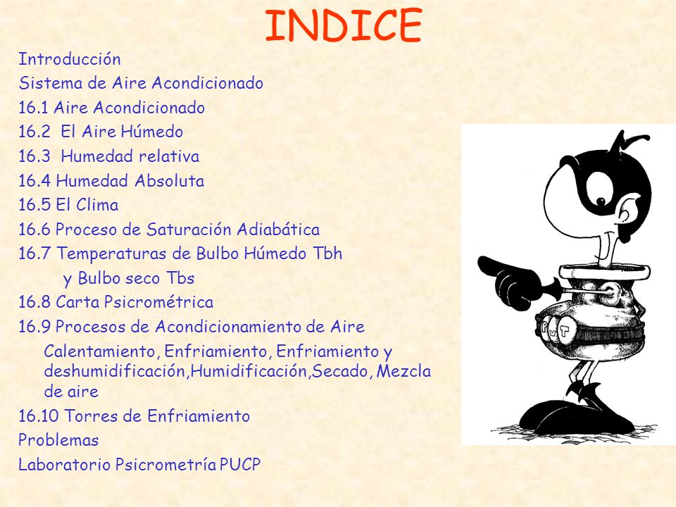 INDICE Introducción Sistema de Aire Acondicionado 16.1 Aire Acondicionado 16.2 El Aire Húmedo 16.3 Humedad relativa 16.4 Humedad Absoluta 16.5 El Clim