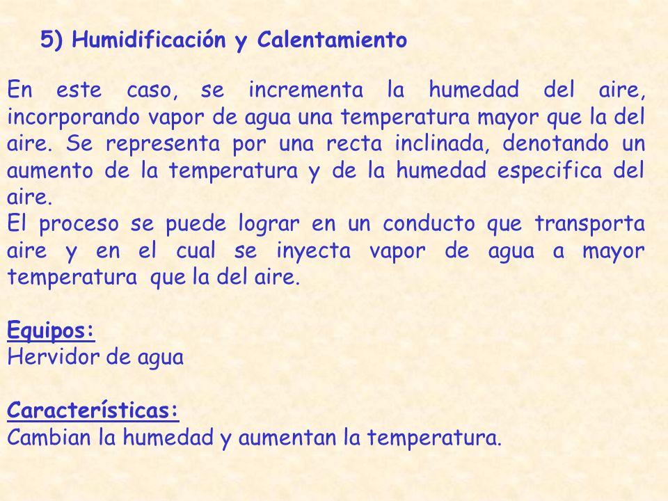 5) Humidificación y Calentamiento En este caso, se incrementa la humedad del aire, incorporando vapor de agua una temperatura mayor que la del aire. S
