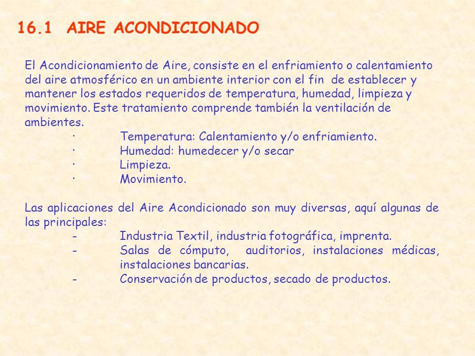16.1 AIRE ACONDICIONADO El Acondicionamiento de Aire, consiste en el enfriamiento o calentamiento del aire atmosférico en un ambiente interior con el