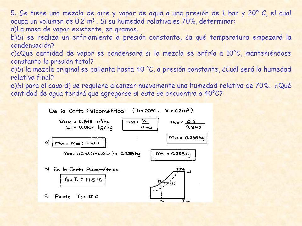 5. Se tiene una mezcla de aire y vapor de agua a una presión de 1 bar y 20° C, el cual ocupa un volumen de 0.2 m 3. Si su humedad relativa es 70%, det