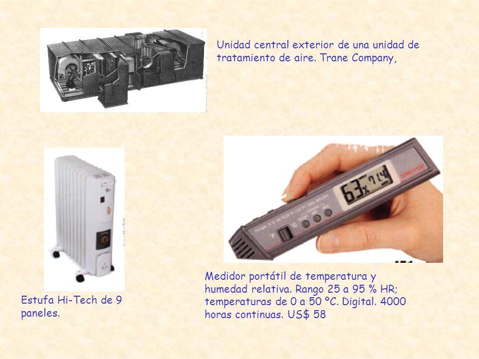 Unidad central exterior de una unidad de tratamiento de aire. Trane Company, Estufa Hi-Tech de 9 paneles. Medidor portátil de temperatura y humedad re