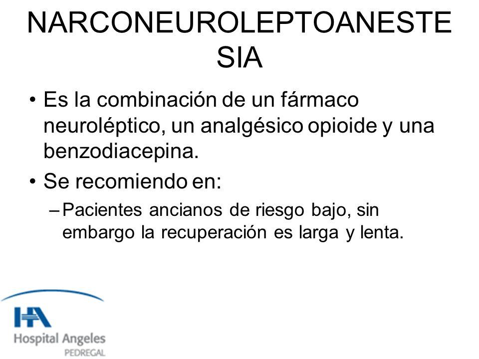 NARCONEUROLEPTOANESTE SIA Es la combinación de un fármaco neuroléptico, un analgésico opioide y una benzodiacepina.