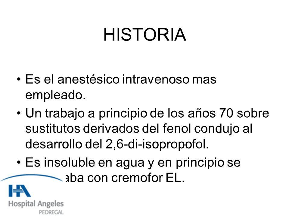 HISTORIA Es el anestésico intravenoso mas empleado.
