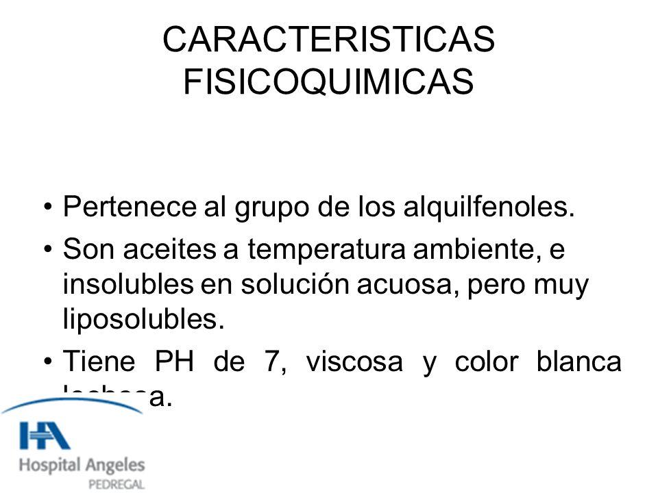 CARACTERISTICAS FISICOQUIMICAS Pertenece al grupo de los alquilfenoles.