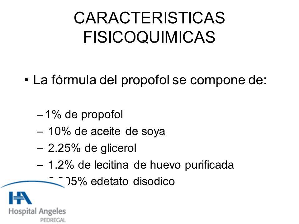CARACTERISTICAS FISICOQUIMICAS La fórmula del propofol se compone de: –1% de propofol – 10% de aceite de soya – 2.25% de glicerol – 1.2% de lecitina de huevo purificada – 0.005% edetato disodico