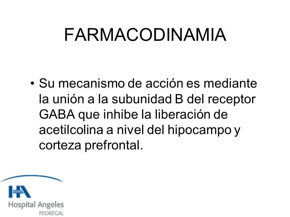 FARMACODINAMIA Su mecanismo de acción es mediante la unión a la subunidad B del receptor GABA que inhibe la liberación de acetilcolina a nivel del hipocampo y corteza prefrontal.