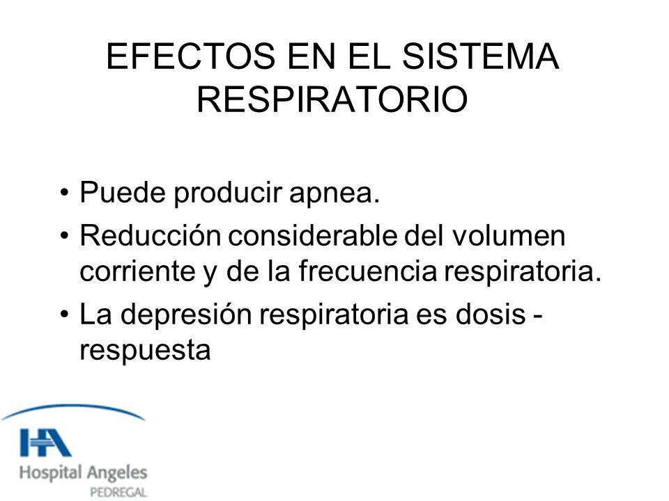 EFECTOS EN EL SISTEMA RESPIRATORIO Puede producir apnea.