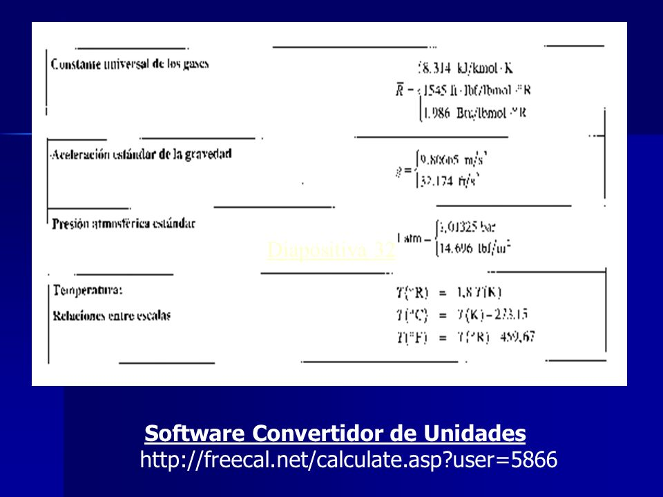 Diapositiva 32 Software Convertidor de Unidades http://freecal.net/calculate.asp?user=5866