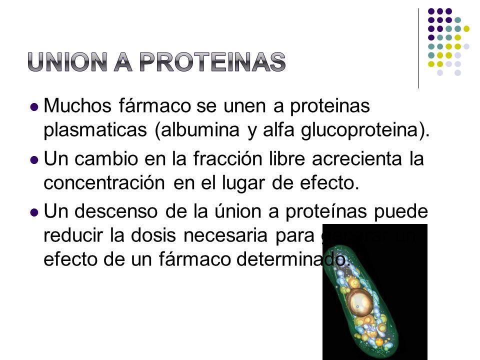Muchos fármaco se unen a proteinas plasmaticas (albumina y alfa glucoproteina). Un cambio en la fracción libre acrecienta la concentración en el lugar