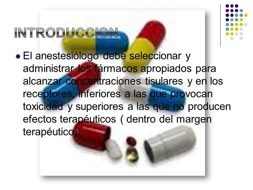 El anestesiólogo debe seleccionar y administrar los fármacos apropiados para alcanzar concentraciones tisulares y en los receptores, inferiores a las