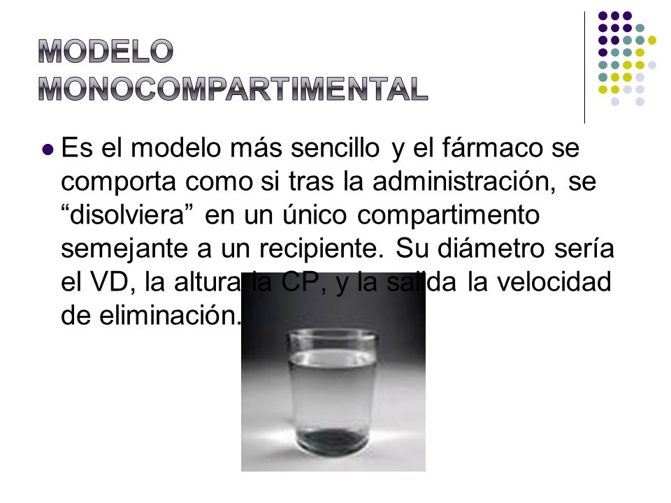 Es el modelo más sencillo y el fármaco se comporta como si tras la administración, se disolviera en un único compartimento semejante a un recipiente.