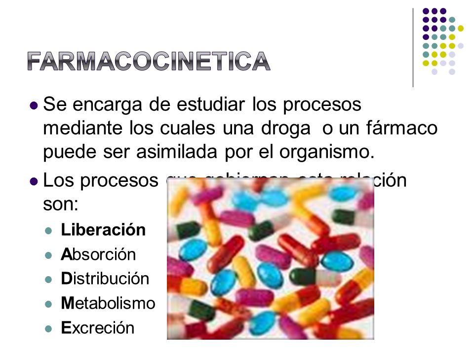 Se encarga de estudiar los procesos mediante los cuales una droga o un fármaco puede ser asimilada por el organismo. Los procesos que gobiernan esta r