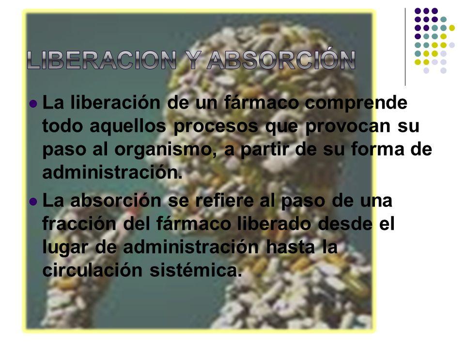 La liberación de un fármaco comprende todo aquellos procesos que provocan su paso al organismo, a partir de su forma de administración. La absorción s