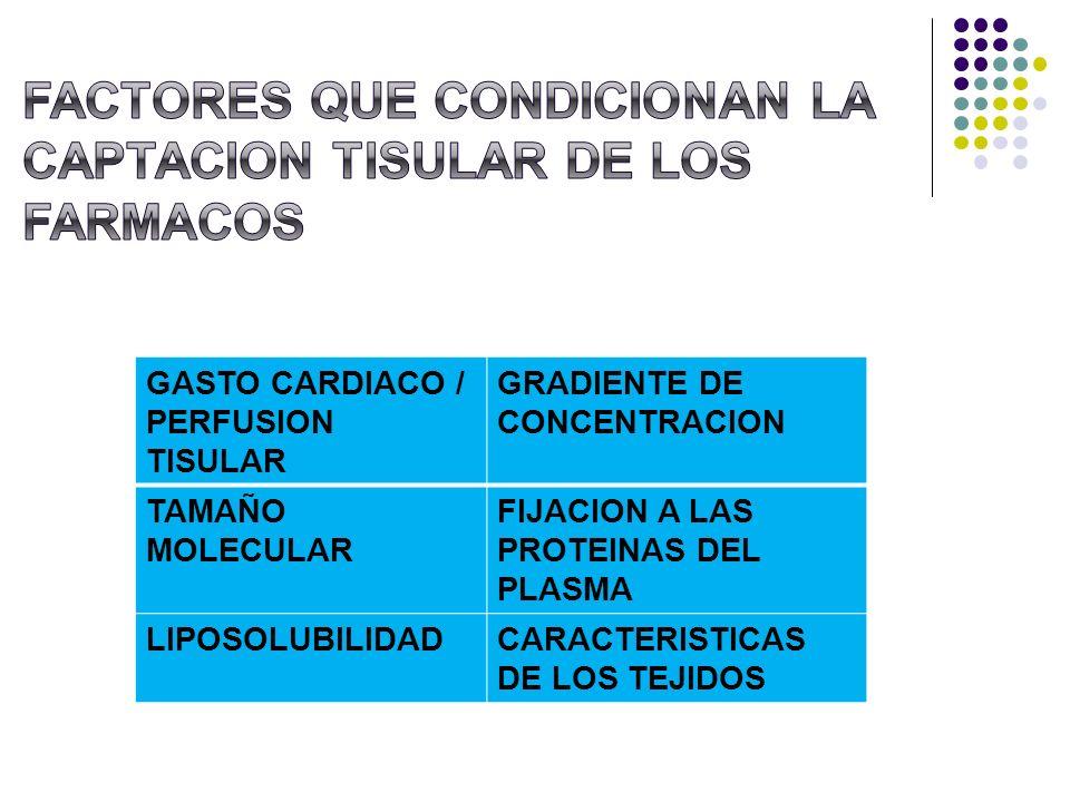 GASTO CARDIACO / PERFUSION TISULAR GRADIENTE DE CONCENTRACION TAMAÑO MOLECULAR FIJACION A LAS PROTEINAS DEL PLASMA LIPOSOLUBILIDADCARACTERISTICAS DE L