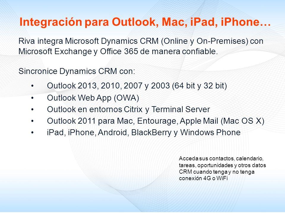 Riva integra Microsoft Dynamics CRM (Online y On-Premises) con Microsoft Exchange y Office 365 de manera confiable. Sincronice Dynamics CRM con: Outlo