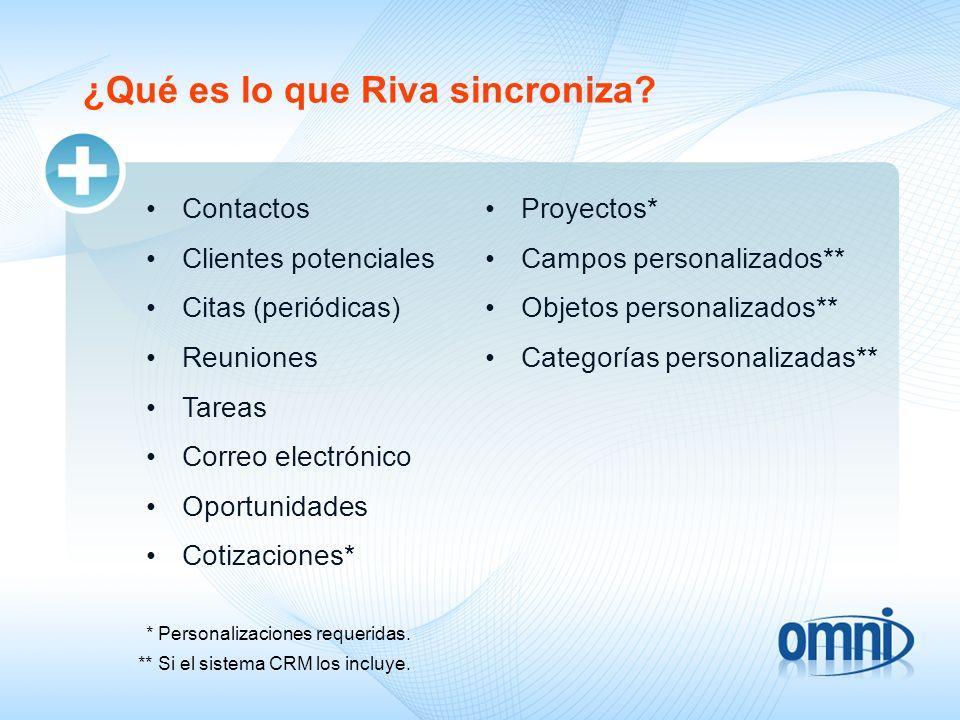 ¿Qué es lo que Riva sincroniza? Contactos Clientes potenciales Citas (periódicas) Reuniones Tareas Correo electrónico Oportunidades Cotizaciones* * Pe