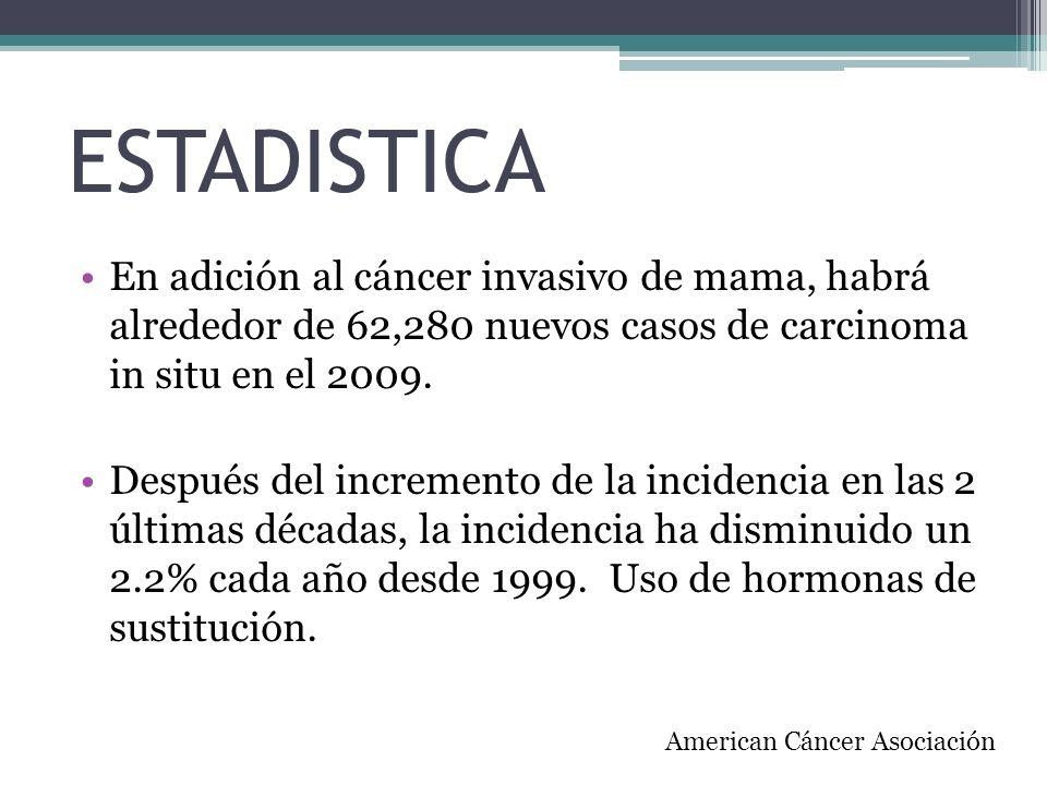 ESTADISTICA En adición al cáncer invasivo de mama, habrá alrededor de 62,280 nuevos casos de carcinoma in situ en el 2009. Después del incremento de l