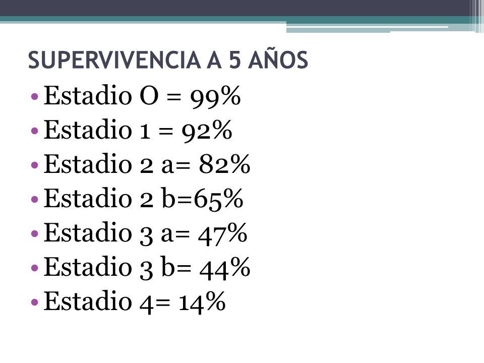 SUPERVIVENCIA A 5 AÑOS Estadio O = 99% Estadio 1 = 92% Estadio 2 a= 82% Estadio 2 b=65% Estadio 3 a= 47% Estadio 3 b= 44% Estadio 4= 14%