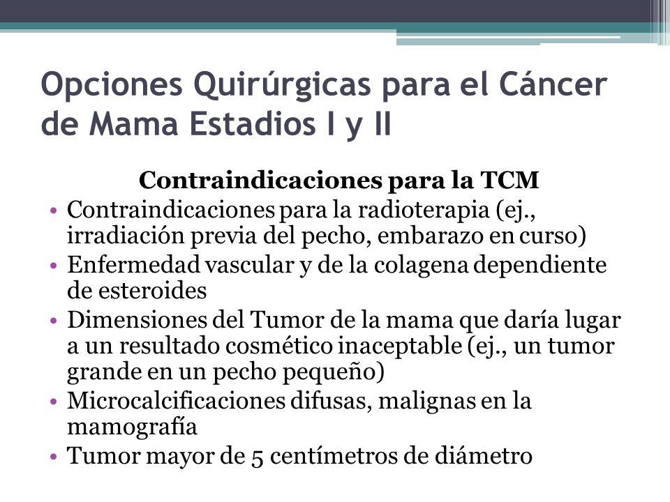 Opciones Quirúrgicas para el Cáncer de Mama Estadios I y II Contraindicaciones para la TCM Contraindicaciones para la radioterapia (ej., irradiación p